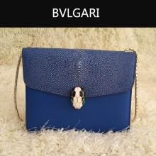 Bvlgari-0013-5 人氣熱銷寶格麗藍色原版魔鬼魚皮正方形單肩斜背包